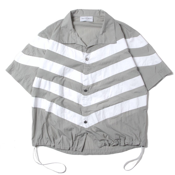 STRIPE PANELLED SHIRT (SS21_27) Stone & White