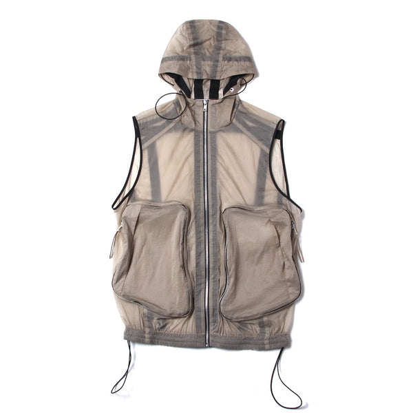 TAPED SEAM ZIPPER POCKET VEST (SS21_20) Khaki