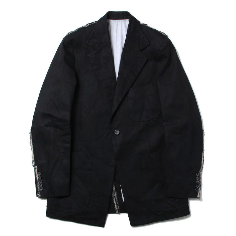 1% STRETCH DENIM CLASSIC FIT SB JACKET (BLK)