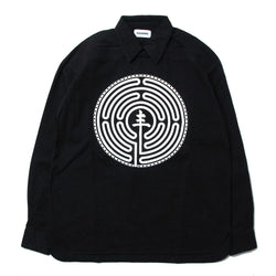 MANDALABYRINTH GRAPHIC BOXY FIT PULLOVER SHIRTS (BLK)