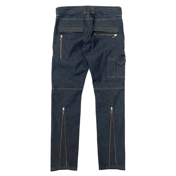 STRETCH COTTON ZIP PANTS (945-76GP06-16) INDIGO