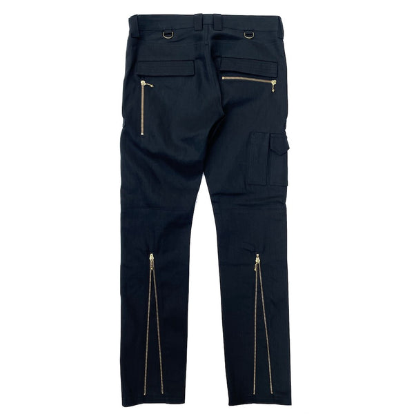 STRETCH COTTON ZIP PANTS (945-76GP06-16) BLACK