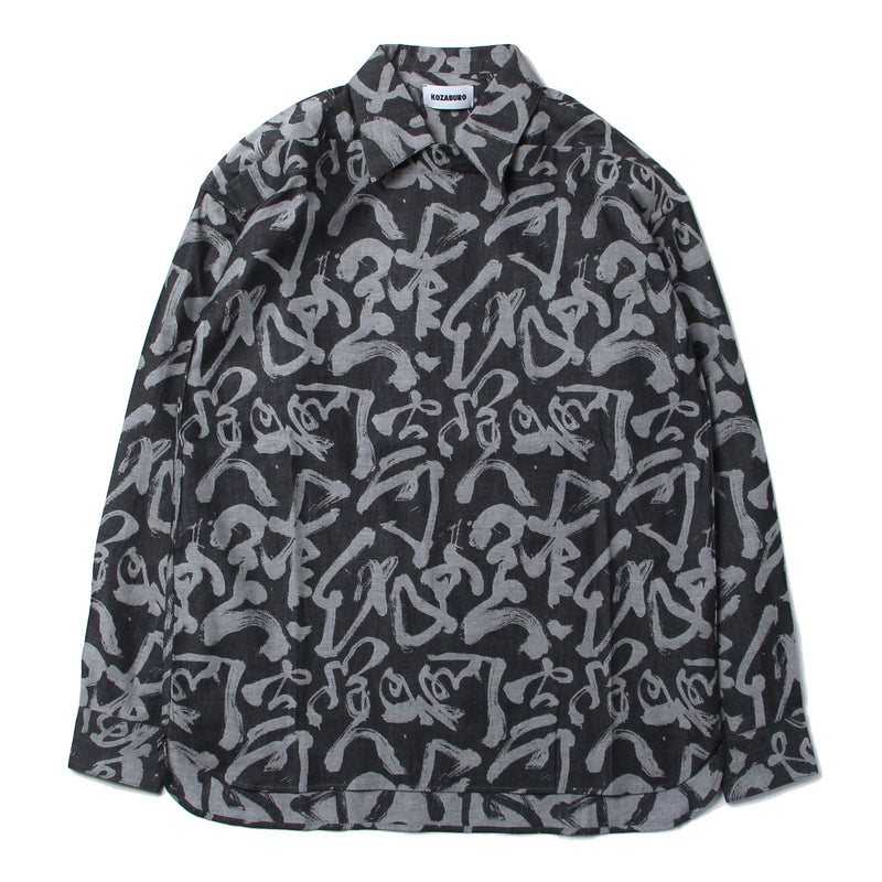 CALIGRACAMO JACQUARD BOXY FIT PULL OVER SHIRTS (WHT×IDG)