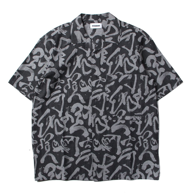 CALIGRACAMO JACQUARD BOXY FIT OPEN COLLR SHIRTS (WHT×IDG)