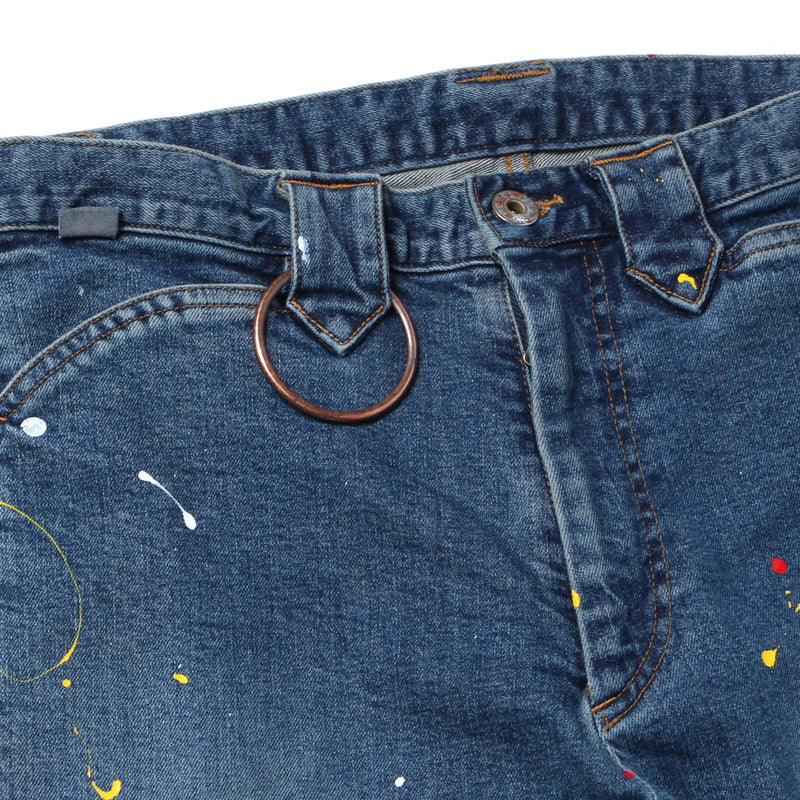 PAINTED BANDAGE ZIP DENIM PANTS (IDG)