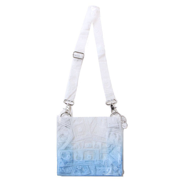 BILLS PRINT PVC SHOULDER BAG (BLU)