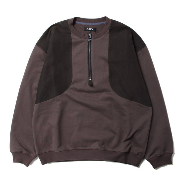 HALF ZIP ELBOW PATCH SWEAT (GRY)
