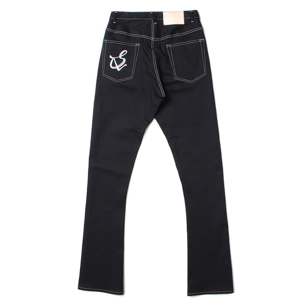 mens boot cut denim pants (BLK)