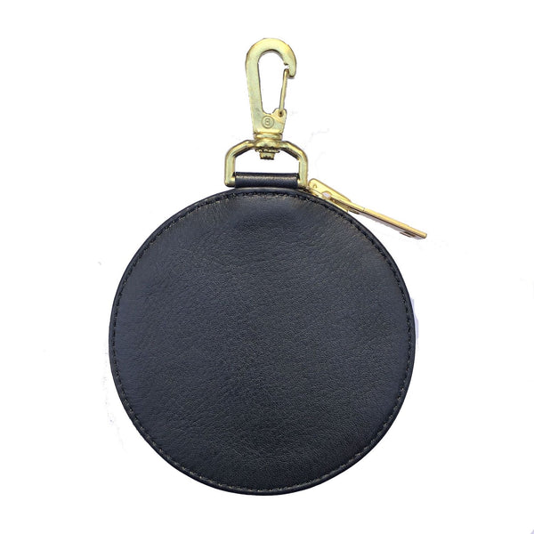 EMBROIDERY LEATHER COINCASE (945-75GAC13-4) BLACK