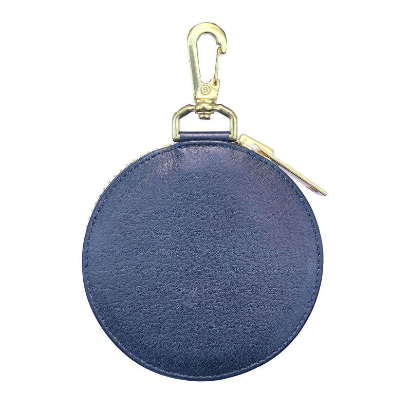 EMBROIDERY LEATHER COINCASE (945-75GAC13-4) BLUE