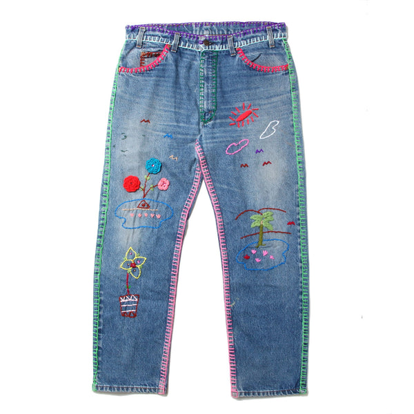 Levi's - 505 with Hand Embroidered