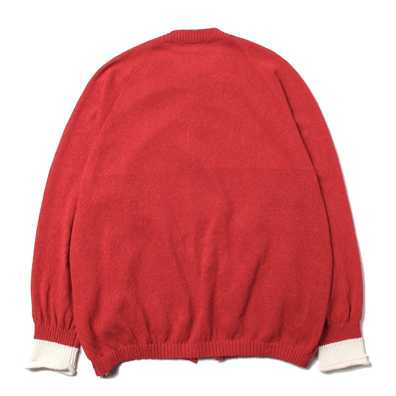 Crew Neck Zip Cardigan (RED)
