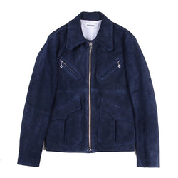 SPLIT COW LEATHER SLIM FIT SINGLE RIDERS JACKET (NVY)