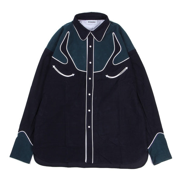 SOLID FLANNEL COTTON WESTERN SHIRT (NVY×GRN)