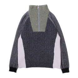 HALF ZIP MIXED KNIT TOPS (D.GRY)