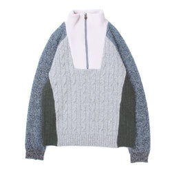 HALF ZIP MIXED KNIT TOPS (GRY)