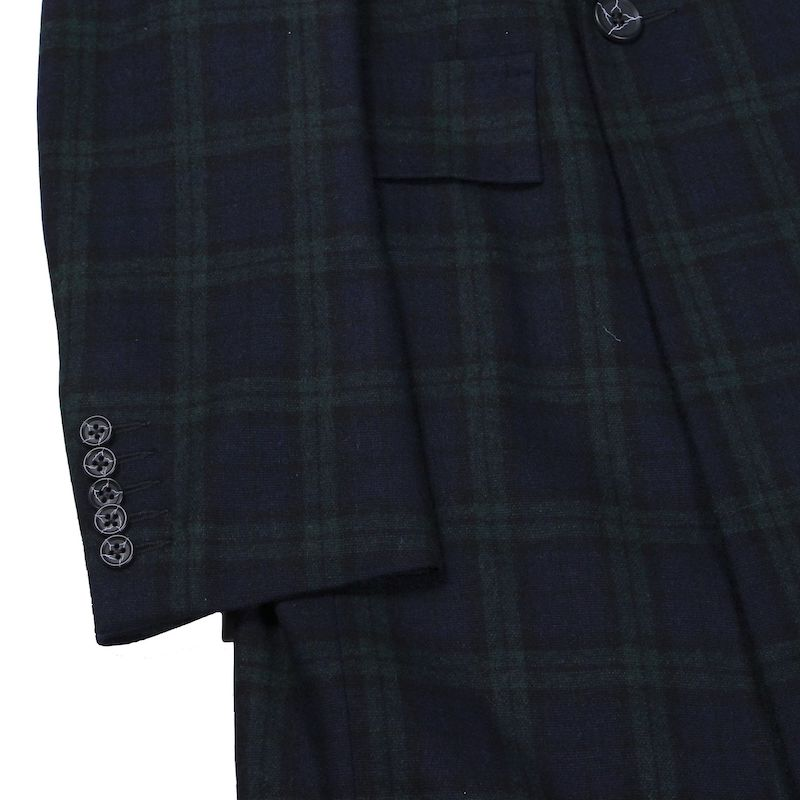BRITISH WOOL CHECK SLIM FIT DB COAT (GRN×NVY)