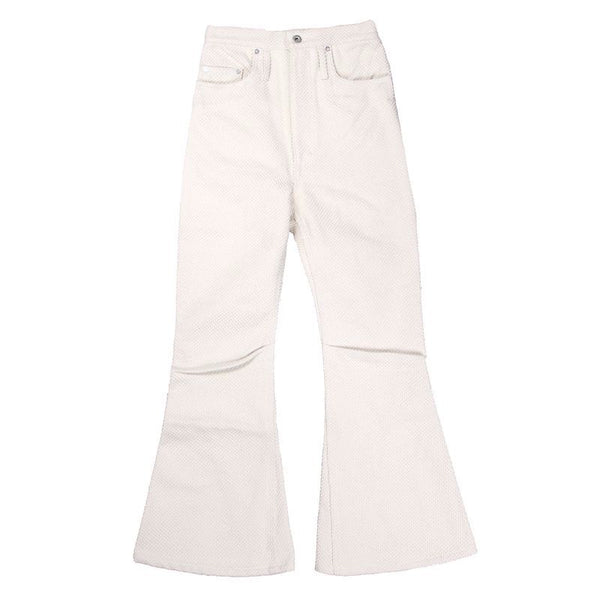 KOZABURO - HEAVY COTTON SASHIKO LONG 3D BOOTS CUT JEANS (WHT)
