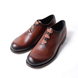 HAND PAINTED DERBYS (OA-SS21-SHO-101-01) HAND POLISHED BROWN