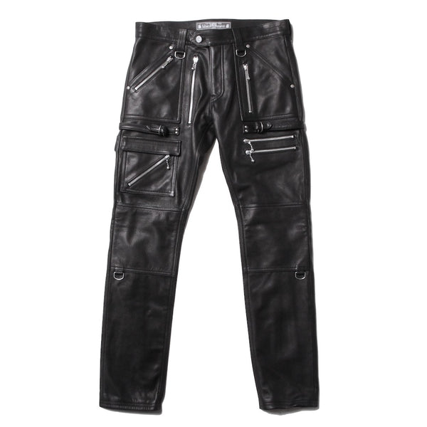 EXCLUSIVE LEATHER ZIP PANTS (945-76GP06-5) BLACK
