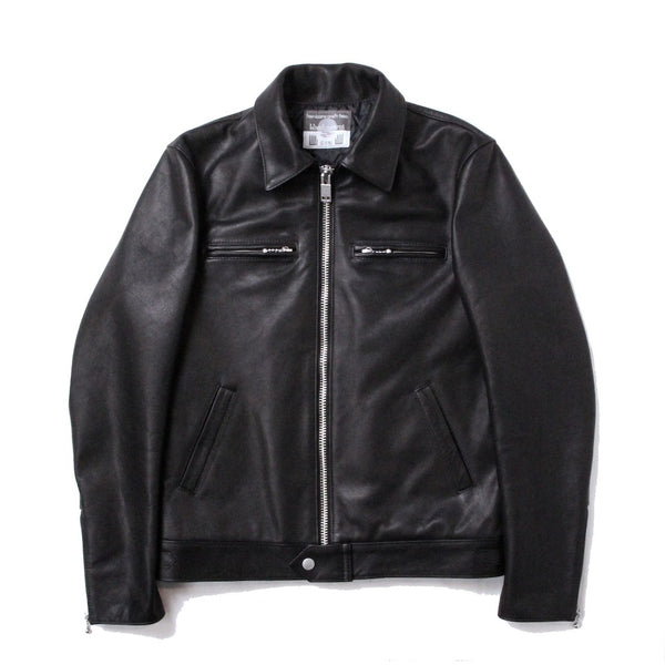 EXCLUSIVE BASIC SINGLE LEATHER JACKET (945-76GJ58-5) BLACK