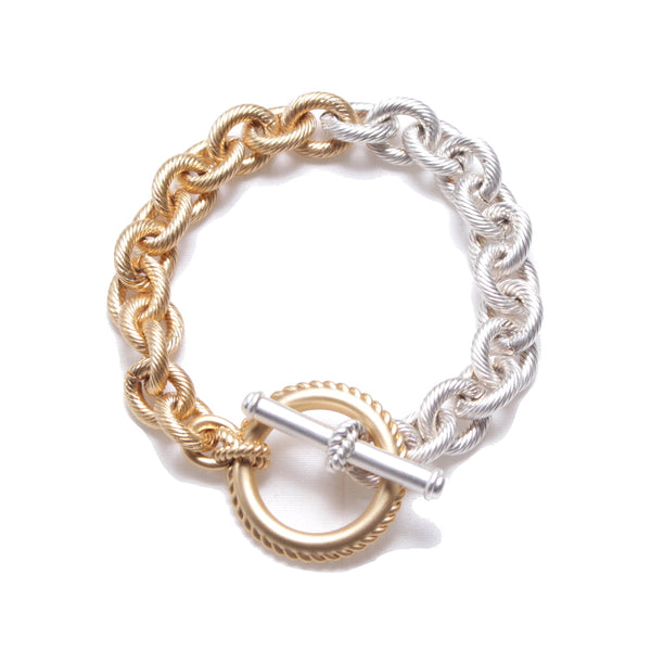 BI-COLOR CHAIN BRACELET MATT (SIL×GLD)