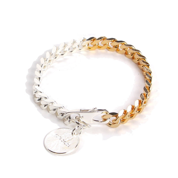 EX BI-COLOR COIN CHAIN BRACELET SHINNY (SIL×GLD)