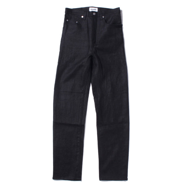 HEAVY LINEN STRAIGHT LEG HIGH WAISTED JEANS (D.NVY)