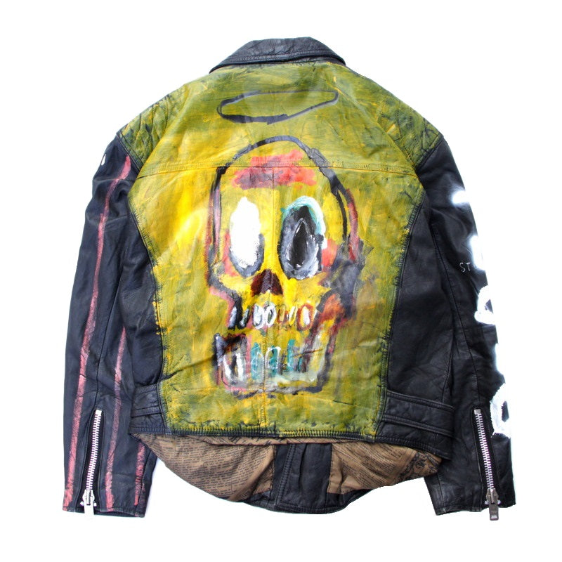Hand Painted Leather Jacket (BLK×YLW)