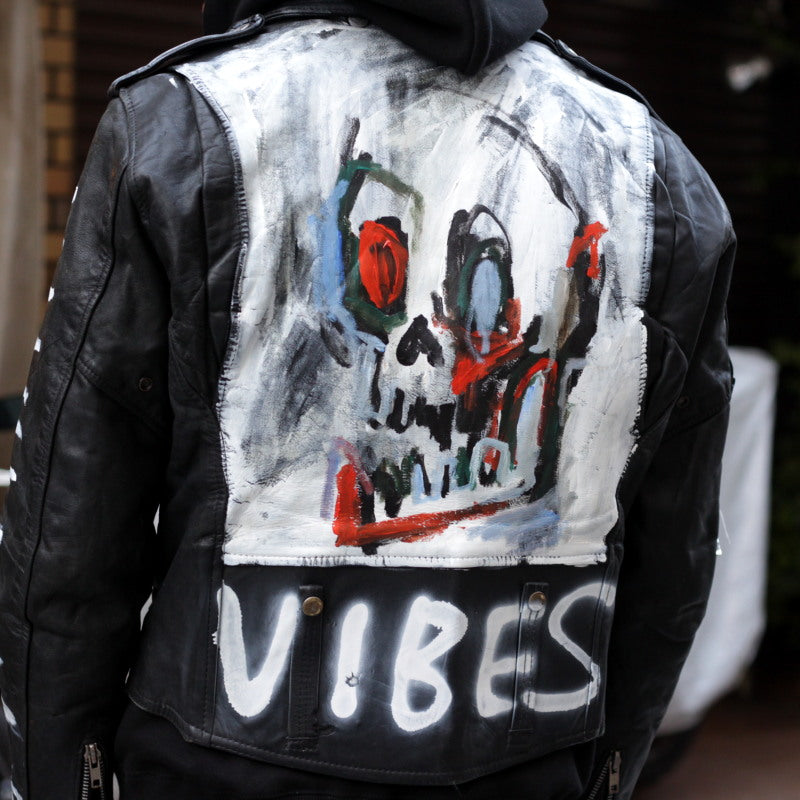 Hand Painted Leather Jacket (BLK×WHT)