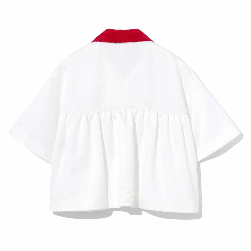 Pleated Half Sleeve Shirt (WHT)