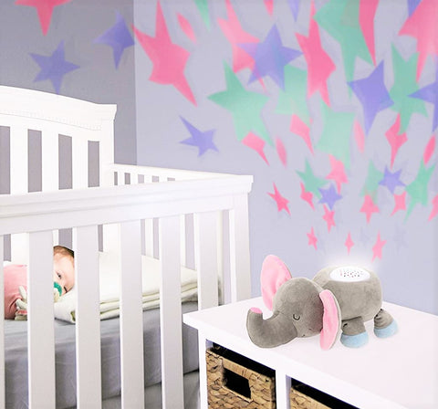 Elefootprints-light-and-sound-plush-elephant-projection and baby in background