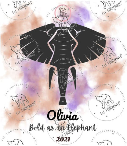 Elefootprints_Bold as an Eephant Olivia Wine Label 3.5 by 4 inches