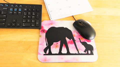 Elephant mama and baby Mouse Pad