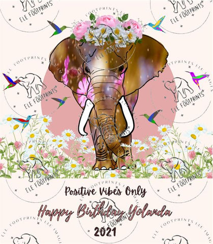 Jumbo elephant with crown Wine Label 3.5 by 4 inches