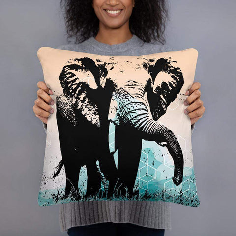 African Elephant Pillow - the Elephant and the Cubes