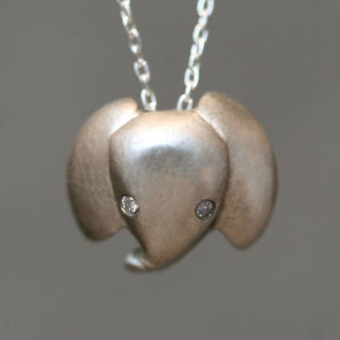 elefootprints-Baby Elephant Necklace in Sterling Silver with Diamonds