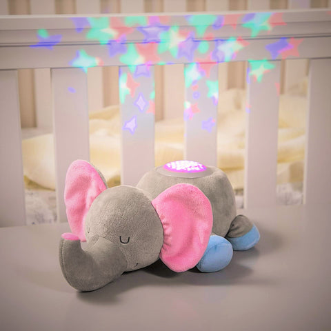 elephant-Calming Nightlight and Soothing Sound Plush elephant Nightlight Projection on wall
