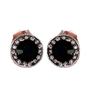 Crystal & Onyx Circle Stud Earrings