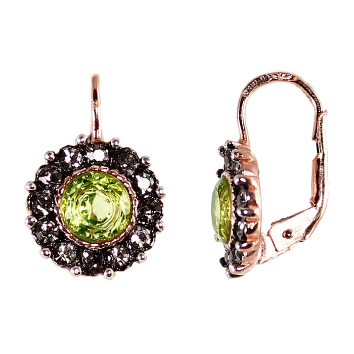 Peridot Circle Drop Earrings
