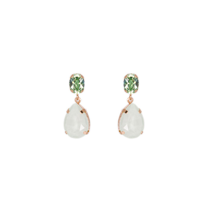 Green Crystal Stud and Teardrop Earrings