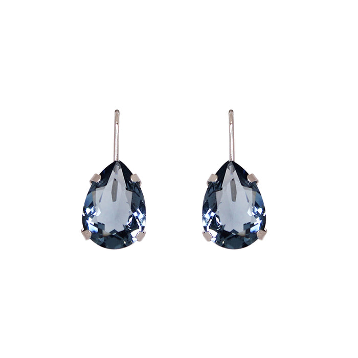 Blue Crystal Teardrop Earring (Silver)