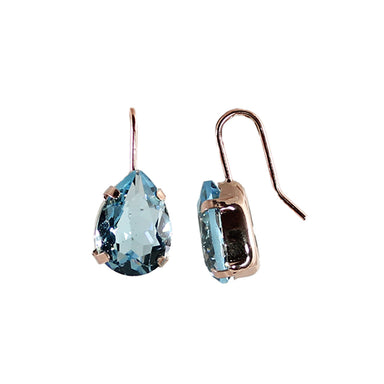 Light Blue Crystal Teardrop Earrings (Rose Gold)
