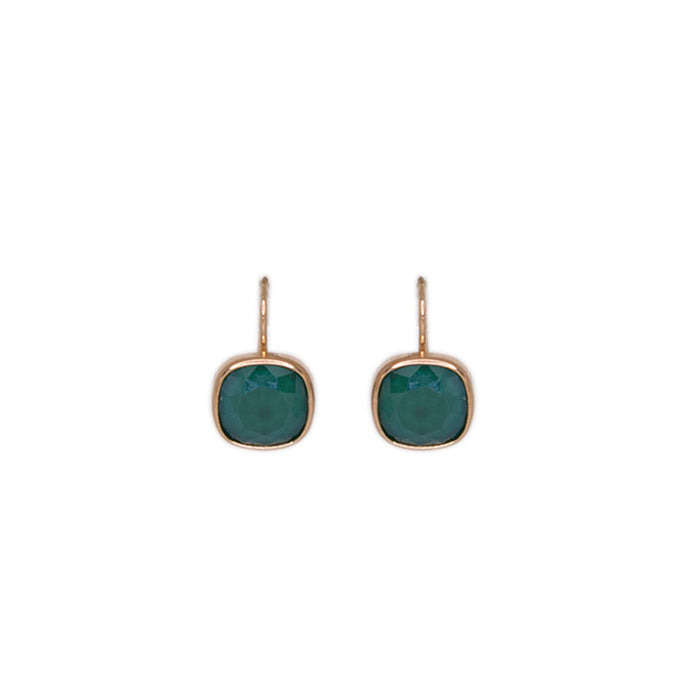 Green Square Crystal Earrings