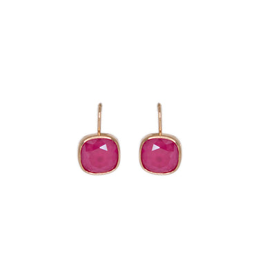 Pink Square Crystal Earrings