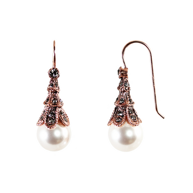 Vintage Pearl & Crystal Drop Earrings