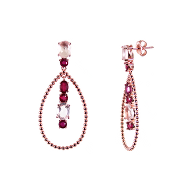 Ruby & Pink Quartz Drop Earrings