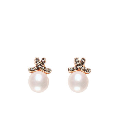 White Pearl and Crystal Bow Stud Earrings