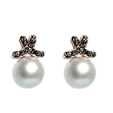 Silver Pearl and Crystal Bow Stud Earrings