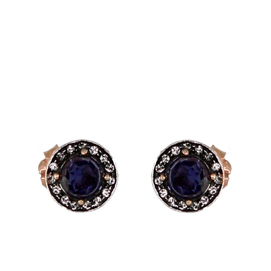 Iolite & Crystal Circle Stud Earrings